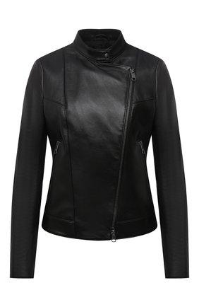 Женская кожаная куртка BOSS черного цвета, арт. 50454472 | Фото 1