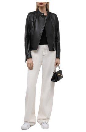 Женская кожаная куртка BOSS черного цвета, арт. 50454472 | Фото 2