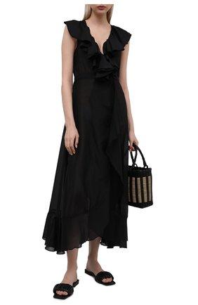 Женское платье из хлопка и шелка NATAYAKIM черного цвета, арт. NY-030BW | Фото 2