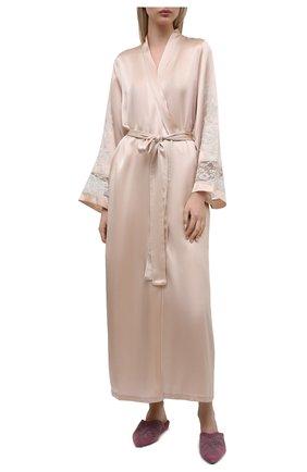 Женский шелковый халат MARJOLAINE светло-бежевого цвета, арт. 3MAR2201 | Фото 2