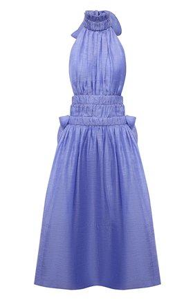 Женское платье изо льна и шелка ZIMMERMANN голубого цвета, арт. 1074DLMI   Фото 1