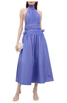 Женское платье изо льна и шелка ZIMMERMANN голубого цвета, арт. 1074DLMI   Фото 2