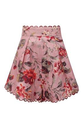 Женские льняные шорты ZIMMERMANN розового цвета, арт. 1477ACAS | Фото 1 (Материал внешний: Лен; Женское Кросс-КТ: Шорты-одежда; Длина Ж (юбки, платья, шорты): Мини; Стили: Романтичный)