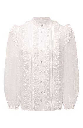 Женская блузка ZIMMERMANN белого цвета, арт. 1699TMAE | Фото 1 (Материал внешний: Растительное волокно; Длина (для топов): Стандартные; Принт: Без принта; Женское Кросс-КТ: Блуза-одежда; Стили: Романтичный; Рукава: Длинные)
