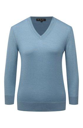 Женский пуловер из кашемира и шелка LORO PIANA голубого цвета, арт. FAL7014   Фото 1 (Рукава: 3/4; Материал внешний: Шелк, Кашемир, Шерсть; Длина (для топов): Стандартные; Стили: Кэжуэл; Женское Кросс-КТ: Пуловер-одежда)
