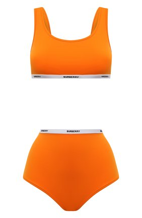 Женский раздельный купальник BURBERRY оранжевого цвета, арт. 8039559 | Фото 1 (Материал внешний: Синтетический материал; Женское Кросс-КТ: Раздельные купальники)