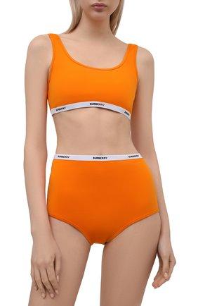 Женский раздельный купальник BURBERRY оранжевого цвета, арт. 8039559 | Фото 2 (Материал внешний: Синтетический материал; Женское Кросс-КТ: Раздельные купальники)