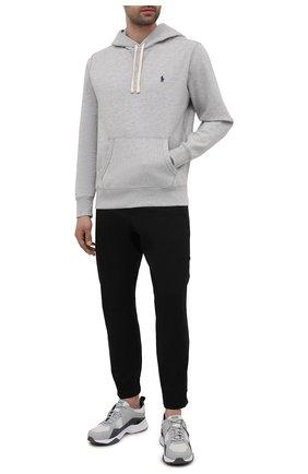 Мужские хлопковые джоггеры HUGO черного цвета, арт. 50455916 | Фото 2 (Длина (брюки, джинсы): Стандартные; Материал внешний: Хлопок; Силуэт М (брюки): Джоггеры; Стили: Спорт-шик)