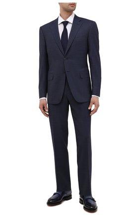 Мужские кожаные монки SANTONI темно-синего цвета, арт. MCCG17744MD3HFULU59 | Фото 2 (Материал внутренний: Натуральная кожа; Стили: Классический)