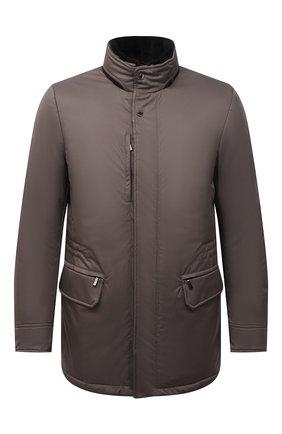 Мужская пуховая куртка с меховой отделкой bernier-ads MOORER серого цвета, арт. BERNIER-ADS/M0UGI100118-TEPA011 | Фото 1