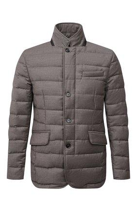 Мужская пуховая куртка из шерсти и кашемира zayn-l MOORER бежевого цвета, арт. ZAYN-L/M0UGI100307-TEPA217 | Фото 1 (Материал внешний: Шерсть; Длина (верхняя одежда): Короткие; Материал подклада: Синтетический материал; Рукава: Длинные; Кросс-КТ: Куртка, Пуховик; Стили: Кэжуэл; Мужское Кросс-КТ: пуховик-короткий; Материал утеплителя: Пух и перо)