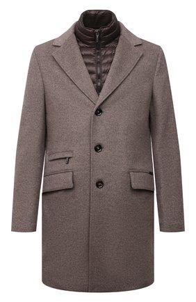 Мужской пальто из шерсти и кашемира harris-le MOORER коричневого цвета, арт. HARRIS-LE/M0UGI100208-TEPA209 | Фото 1 (Материал подклада: Синтетический материал; Материал внешний: Шерсть; Мужское Кросс-КТ: пальто-верхняя одежда; Стили: Кэжуэл; Рукава: Длинные)