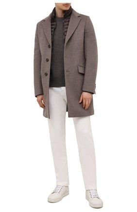 Мужской пальто из шерсти и кашемира harris-le MOORER коричневого цвета, арт. HARRIS-LE/M0UGI100208-TEPA209 | Фото 2 (Материал подклада: Синтетический материал; Материал внешний: Шерсть; Мужское Кросс-КТ: пальто-верхняя одежда; Стили: Кэжуэл; Рукава: Длинные)