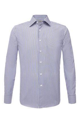 Мужская хлопковая сорочка CANALI синего цвета, арт. X05/GD00338 | Фото 1 (Длина (для топов): Стандартные; Материал внешний: Хлопок; Случай: Формальный; Принт: Полоска; Воротник: Кент; Стили: Классический; Рукава: Длинные; Рубашки М: Regular Fit)