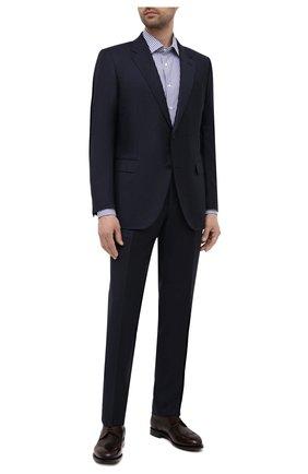 Мужская хлопковая сорочка CANALI синего цвета, арт. X05/GD00338 | Фото 2 (Длина (для топов): Стандартные; Материал внешний: Хлопок; Случай: Формальный; Принт: Полоска; Воротник: Кент; Стили: Классический; Рукава: Длинные; Рубашки М: Regular Fit)