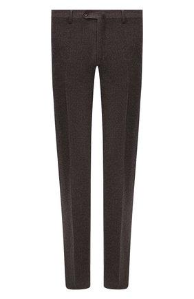Мужские брюки из шерсти и кашемира LORO PIANA темно-коричневого цвета, арт. FAI3433 | Фото 1 (Материал внешний: Шерсть; Случай: Повседневный; Длина (брюки, джинсы): Стандартные; Стили: Кэжуэл; Материал подклада: Синтетический материал)