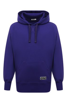 Мужской хлопковое худи VALENTINO фиолетового цвета, арт. WV3MF18I7GD | Фото 1 (Материал внешний: Хлопок; Длина (для топов): Стандартные; Рукава: Длинные; Мужское Кросс-КТ: Худи-одежда; Принт: Без принта; Стили: Спорт-шик)