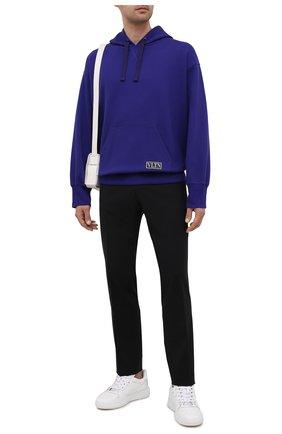 Мужской хлопковое худи VALENTINO фиолетового цвета, арт. WV3MF18I7GD | Фото 2 (Материал внешний: Хлопок; Длина (для топов): Стандартные; Рукава: Длинные; Мужское Кросс-КТ: Худи-одежда; Принт: Без принта; Стили: Спорт-шик)