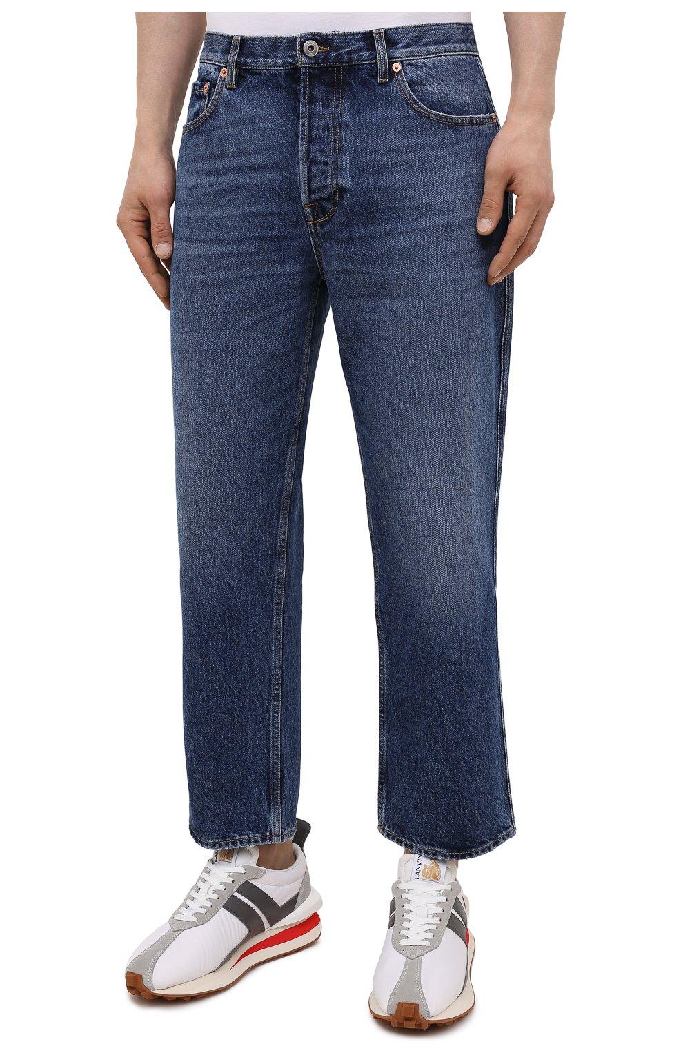 Мужские джинсы VALENTINO синего цвета, арт. WV3DE00Y7L0   Фото 3 (Силуэт М (брюки): Широкие; Длина (брюки, джинсы): Стандартные; Материал внешний: Хлопок; Стили: Кэжуэл)