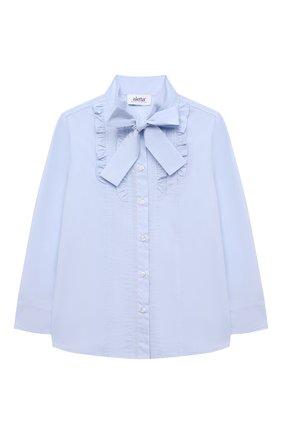 Детское хлопковая блузка ALETTA голубого цвета, арт. AC210487L-34/4A-8A   Фото 1 (Материал внешний: Хлопок; Рукава: Длинные; Ростовка одежда: 6 лет   116 см, 7 лет   122 см, 8 лет   128 см)