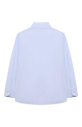 Детское хлопковая блузка ALETTA голубого цвета, арт. AC210487L-34/4A-8A   Фото 2 (Материал внешний: Хлопок; Рукава: Длинные; Ростовка одежда: 6 лет   116 см, 7 лет   122 см, 8 лет   128 см)