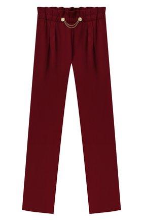 Детские брюки ALETTA бордового цвета, арт. A210947-13N/4A-8A | Фото 1 (Материал внешний: Синтетический материал, Вискоза; Девочки Кросс-КТ: Брюки-одежда; Ростовка одежда: 6 лет | 116 см, 7 лет | 122 см, 8 лет | 128 см)
