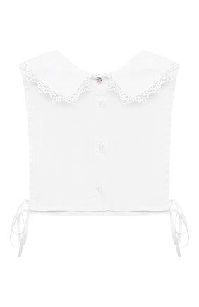 Детский хлопковая манишка ALETTA белого цвета, арт. A210574/4A-8A   Фото 1 (Материал: Текстиль, Хлопок)