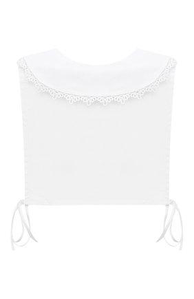 Детский хлопковая манишка ALETTA белого цвета, арт. A210574/4A-8A   Фото 2 (Материал: Текстиль, Хлопок)