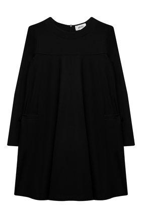 Детское платье из вискозы ALETTA черного цвета, арт. A210566-19/4A-8A   Фото 1 (Случай: Повседневный; Рукава: Длинные; Девочки Кросс-КТ: Платье-одежда; Материал внешний: Вискоза; Ростовка одежда: 6 лет   116 см, 7 лет   122 см, 8 лет   128 см)