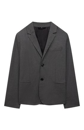 Детский пиджак EMPORIO ARMANI серого цвета, арт. 6K4GJH/4N4FZ | Фото 1 (Материал внешний: Синтетический материал, Вискоза; Рукава: Длинные; Кросс-КТ: пиджак; Материал подклада: Синтетический материал; Ростовка одежда: 10 - 11 лет | 140 - 146см, 13 - 15 лет | 158 см, 16 лет | 164 см, 4 года | 104 см, 5 лет | 110 см, 6 лет | 116 см, 7 лет | 122 см, 8 лет | 128 см, 9 лет | 134 см)