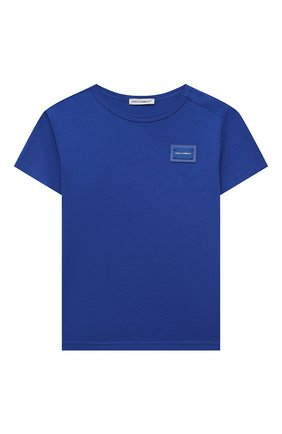 Детский хлопковая футболка DOLCE & GABBANA синего цвета, арт. L1JT7T/G70LK | Фото 1