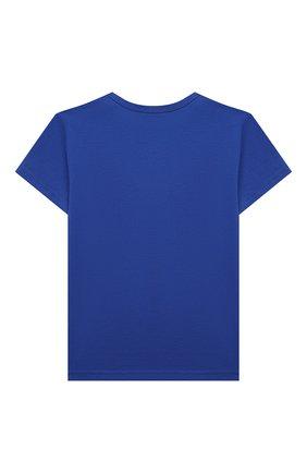 Детский хлопковая футболка DOLCE & GABBANA синего цвета, арт. L1JT7T/G70LK | Фото 2