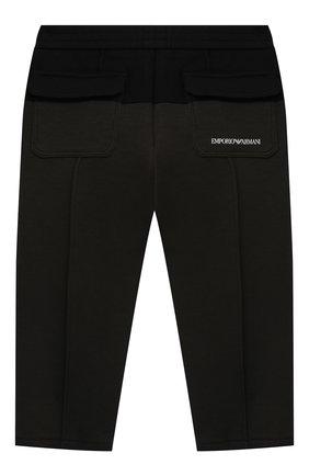 Детские хлопковые брюки EMPORIO ARMANI хаки цвета, арт. 6KHP67/1JHSZ   Фото 2 (Материал внешний: Хлопок; Ростовка одежда: 9 мес   74 см, 12 мес   80 см, 24 мес   92 см, 36 мес   98 см)