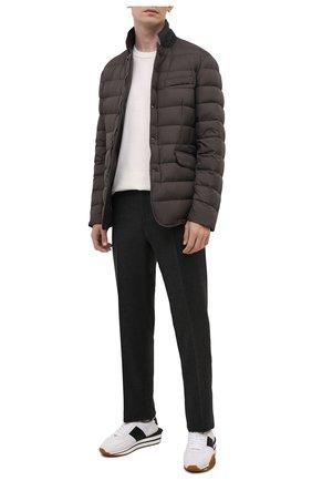 Мужская пуховая куртка zayn-op MOORER коричневого цвета, арт. ZAYN-0P/M0UGI100307-TEPA017 | Фото 2 (Длина (верхняя одежда): Короткие; Материал внешний: Синтетический материал; Кросс-КТ: Пуховик, Куртка; Мужское Кросс-КТ: пуховик-короткий; Рукава: Длинные; Материал подклада: Синтетический материал; Стили: Кэжуэл; Материал утеплителя: Пух и перо)
