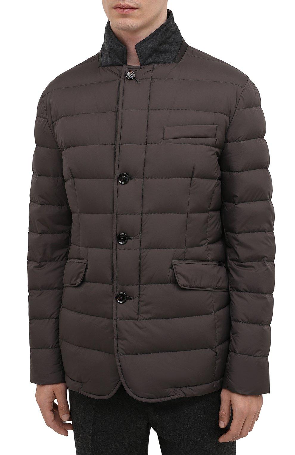 Мужская пуховая куртка zayn-op MOORER коричневого цвета, арт. ZAYN-0P/M0UGI100307-TEPA017   Фото 3 (Кросс-КТ: Куртка, Пуховик; Мужское Кросс-КТ: пуховик-короткий; Рукава: Длинные; Материал внешний: Синтетический материал; Материал подклада: Синтетический материал; Длина (верхняя одежда): Короткие; Материал утеплителя: Пух и перо; Стили: Кэжуэл)