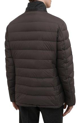 Мужская пуховая куртка zayn-op MOORER коричневого цвета, арт. ZAYN-0P/M0UGI100307-TEPA017   Фото 4 (Кросс-КТ: Куртка, Пуховик; Мужское Кросс-КТ: пуховик-короткий; Рукава: Длинные; Материал внешний: Синтетический материал; Материал подклада: Синтетический материал; Длина (верхняя одежда): Короткие; Материал утеплителя: Пух и перо; Стили: Кэжуэл)