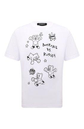 Мужская хлопковая футболка DOMREBEL белого цвета, арт. RUMBLE/B0X T-SHIRT | Фото 1 (Материал внешний: Хлопок; Длина (для топов): Стандартные; Рукава: Короткие; Стили: Гранж; Принт: С принтом)