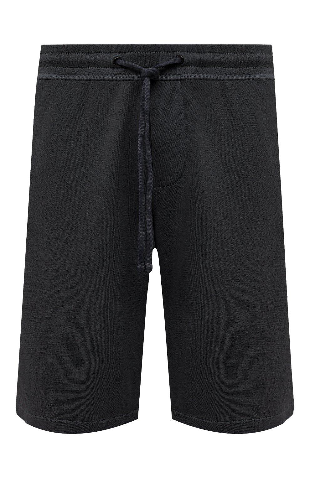Мужские хлопковые шорты JAMES PERSE темно-серого цвета, арт. MXA4118 | Фото 1 (Принт: Без принта; Длина Шорты М: Ниже колена; Кросс-КТ: Трикотаж; Материал внешний: Хлопок; Стили: Спорт-шик)