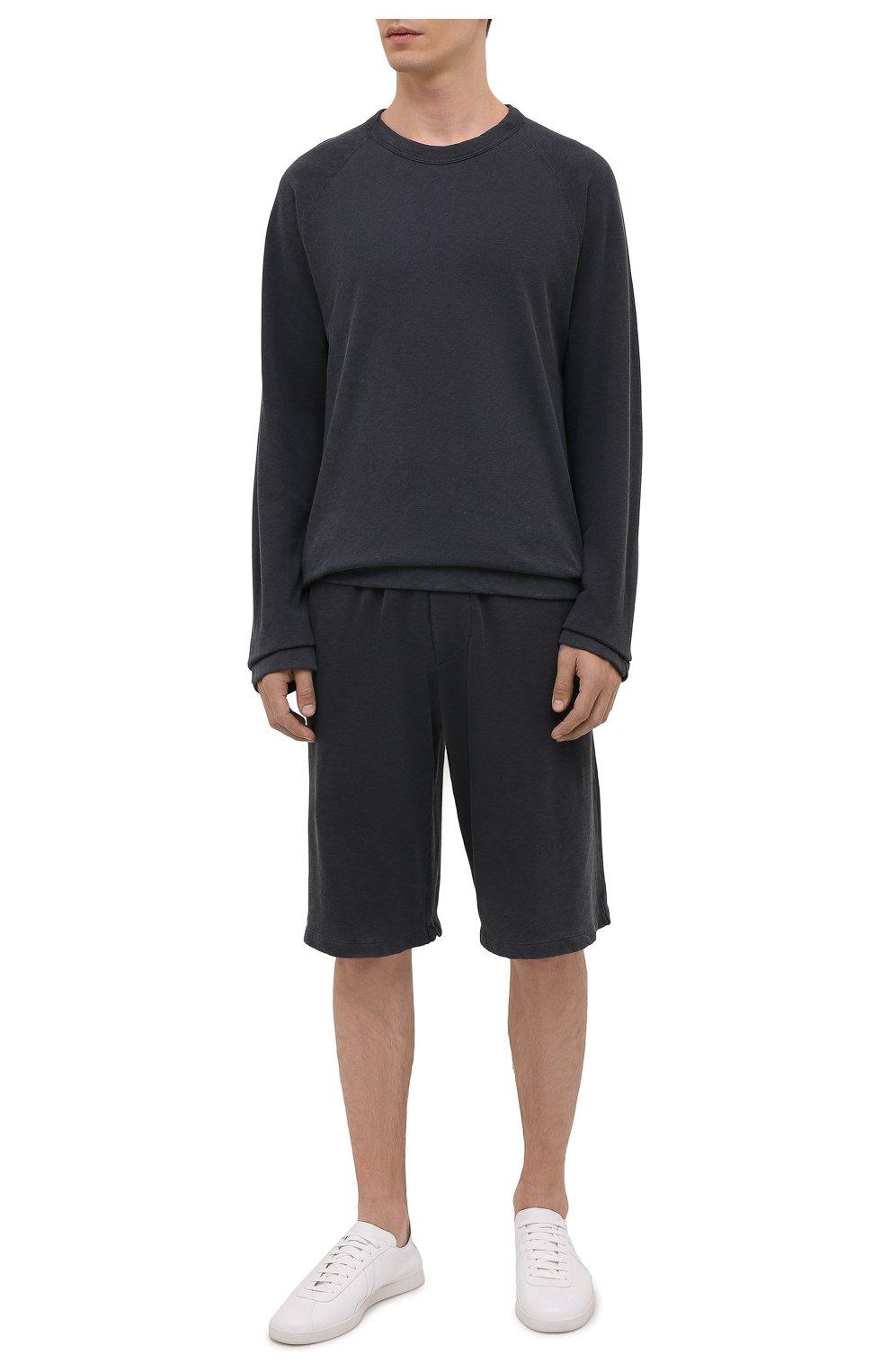 Мужские хлопковые шорты JAMES PERSE темно-серого цвета, арт. MXA4118 | Фото 2 (Принт: Без принта; Длина Шорты М: Ниже колена; Кросс-КТ: Трикотаж; Материал внешний: Хлопок; Стили: Спорт-шик)