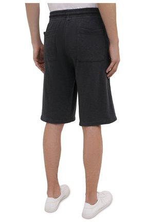 Мужские хлопковые шорты JAMES PERSE темно-серого цвета, арт. MXA4118 | Фото 4 (Принт: Без принта; Длина Шорты М: Ниже колена; Кросс-КТ: Трикотаж; Материал внешний: Хлопок; Стили: Спорт-шик)