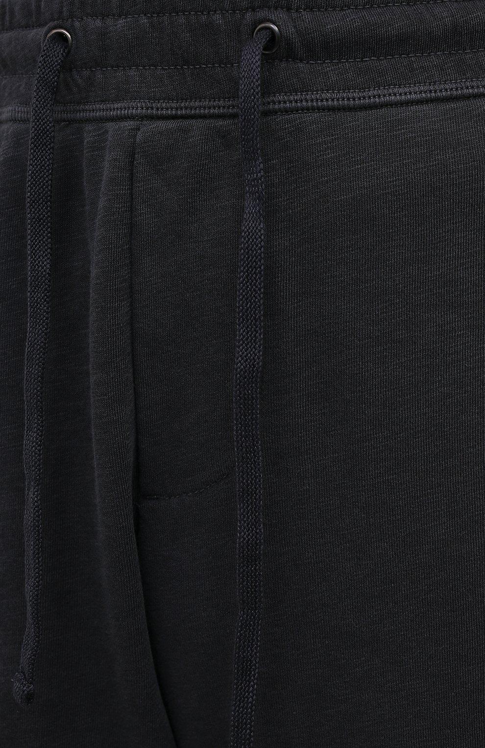 Мужские хлопковые шорты JAMES PERSE темно-серого цвета, арт. MXA4118 | Фото 5 (Принт: Без принта; Длина Шорты М: Ниже колена; Кросс-КТ: Трикотаж; Материал внешний: Хлопок; Стили: Спорт-шик)