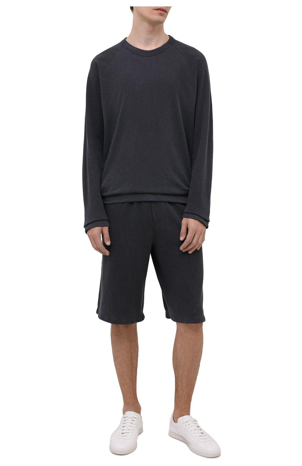 Мужской хлопковый свитшот JAMES PERSE темно-серого цвета, арт. MXA3278   Фото 2 (Рукава: Длинные; Принт: Без принта; Длина (для топов): Удлиненные; Мужское Кросс-КТ: свитшот-одежда; Материал внешний: Хлопок; Стили: Спорт-шик)