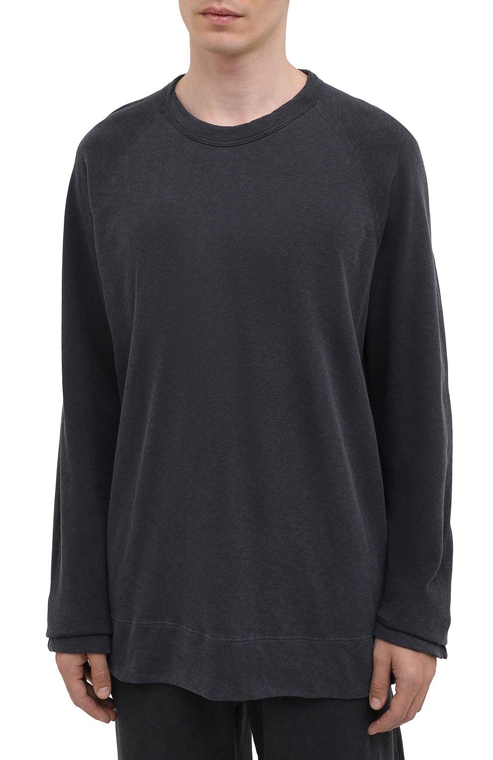 Мужской хлопковый свитшот JAMES PERSE темно-серого цвета, арт. MXA3278   Фото 3 (Рукава: Длинные; Принт: Без принта; Длина (для топов): Удлиненные; Мужское Кросс-КТ: свитшот-одежда; Материал внешний: Хлопок; Стили: Спорт-шик)