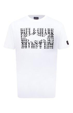 Мужская хлопковая футболка PAUL&SHARK белого цвета, арт. 11311646/C00 | Фото 1 (Материал внешний: Хлопок; Длина (для топов): Стандартные; Рукава: Короткие; Стили: Кэжуэл)