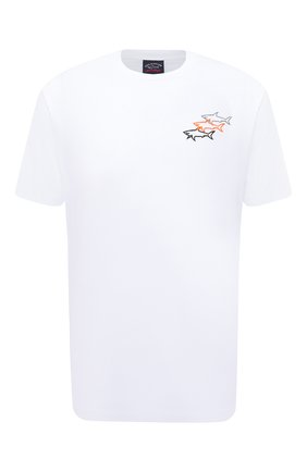Мужская хлопковая футболка PAUL&SHARK белого цвета, арт. 11311658/C00 | Фото 1 (Длина (для топов): Стандартные; Материал внешний: Хлопок; Рукава: Короткие; Принт: С принтом; Стили: Кэжуэл)