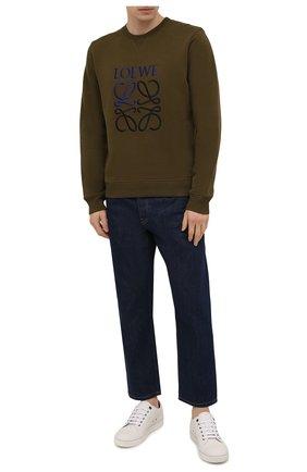 Мужской хлопковый свитшот LOEWE хаки цвета, арт. H526Y24J07 | Фото 2