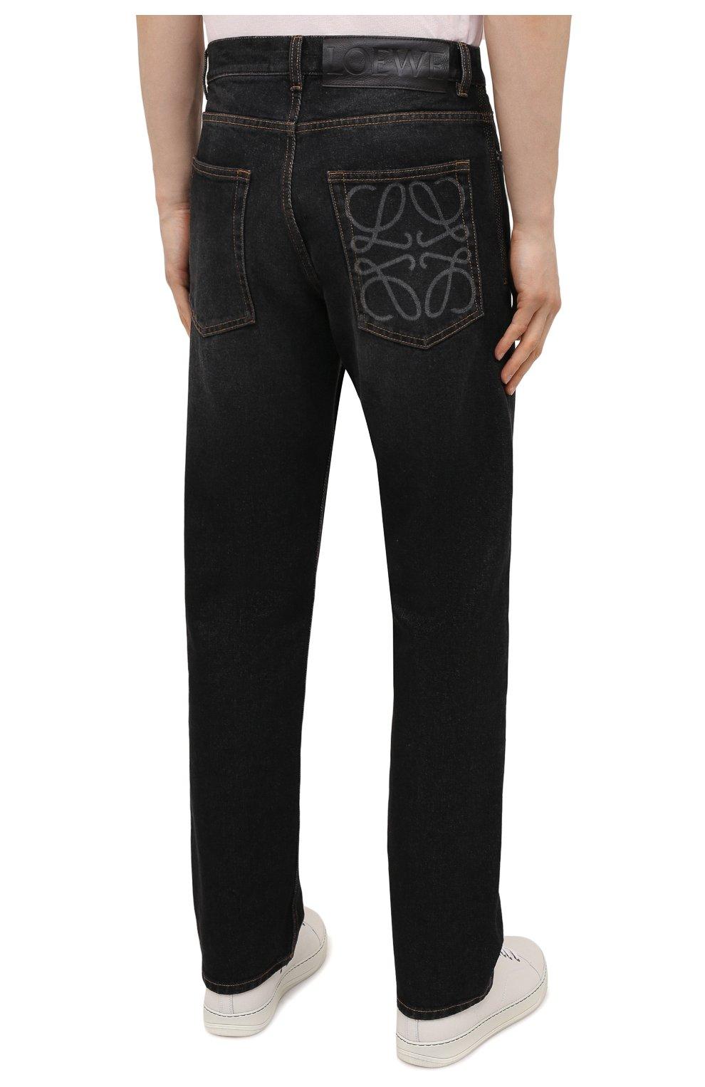 Мужские джинсы LOEWE черного цвета, арт. H526Y04W46 | Фото 4 (Силуэт М (брюки): Широкие; Кросс-КТ: Деним; Длина (брюки, джинсы): Стандартные; Материал внешний: Хлопок; Стили: Минимализм)