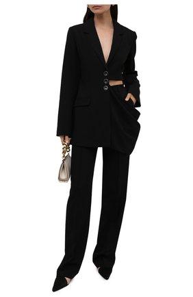 Женские брюки LESYANEBO черного цвета, арт. SS21/Н-157/W | Фото 2 (Материал внешний: Синтетический материал, Вискоза; Длина (брюки, джинсы): Удлиненные; Стили: Гламурный; Женское Кросс-КТ: Брюки-одежда; Силуэт Ж (брюки и джинсы): Широкие)
