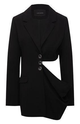Женский жакет LESYANEBO черного цвета, арт. SS21/Н-556/W | Фото 1 (Длина (для топов): Удлиненные; Рукава: Длинные; Материал внешний: Синтетический материал, Вискоза; Стили: Гламурный; Случай: Коктейльный; Женское Кросс-КТ: Жакет-одежда; 1-2-бортные: Однобортные)