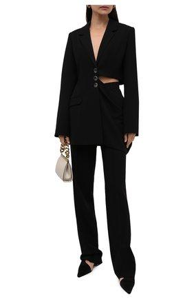 Женский жакет LESYANEBO черного цвета, арт. SS21/Н-556/W | Фото 2 (Длина (для топов): Удлиненные; Рукава: Длинные; Материал внешний: Синтетический материал, Вискоза; Стили: Гламурный; Случай: Коктейльный; Женское Кросс-КТ: Жакет-одежда; 1-2-бортные: Однобортные)